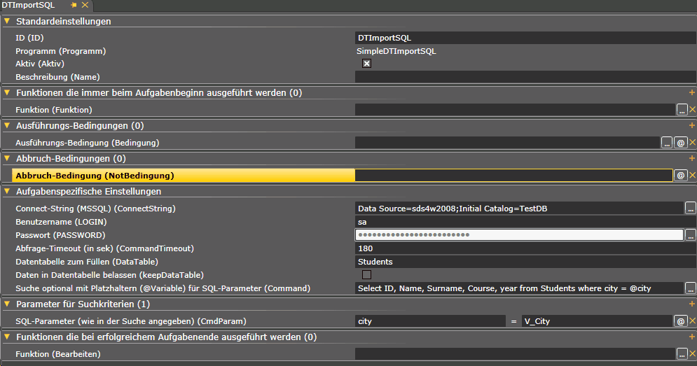 Screen SimpleDTImportSQL